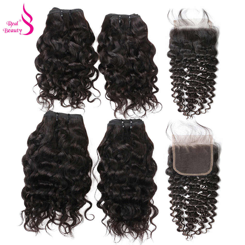 Real Beauty 50G Water Wave 4 Bundles with Closure Malaysian Remy Human Hair Bundles Deals Ocean Weave Human Hair Extensions