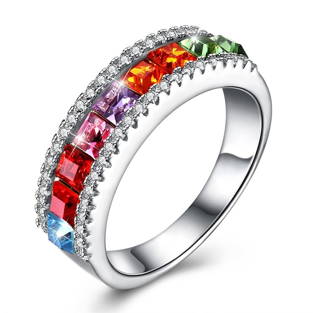 INALIS Hot New Crystals from Swarovski 925 Sterling Silver Fashion Color  Crystal Rings For Female Wedding 3512349ff3