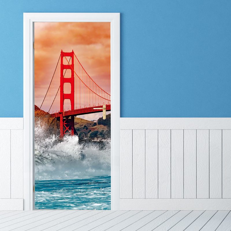 Creative DIY 3D Golden Gate Bridge Pattern Door Stickers Wallpaper Wall Sticker for Living Room Bedroom Decoration Home Decor flower bridge river pattern 3d wall art sticker