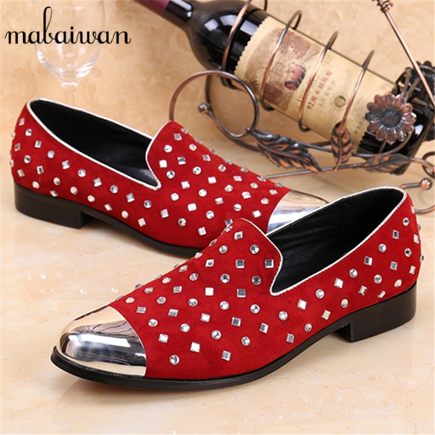 New Fashion Rhinestone Decor Loafers Red Mens Wedding Party Shoes Slip On Casual Shoes Men Flats Creepers Espadrilles