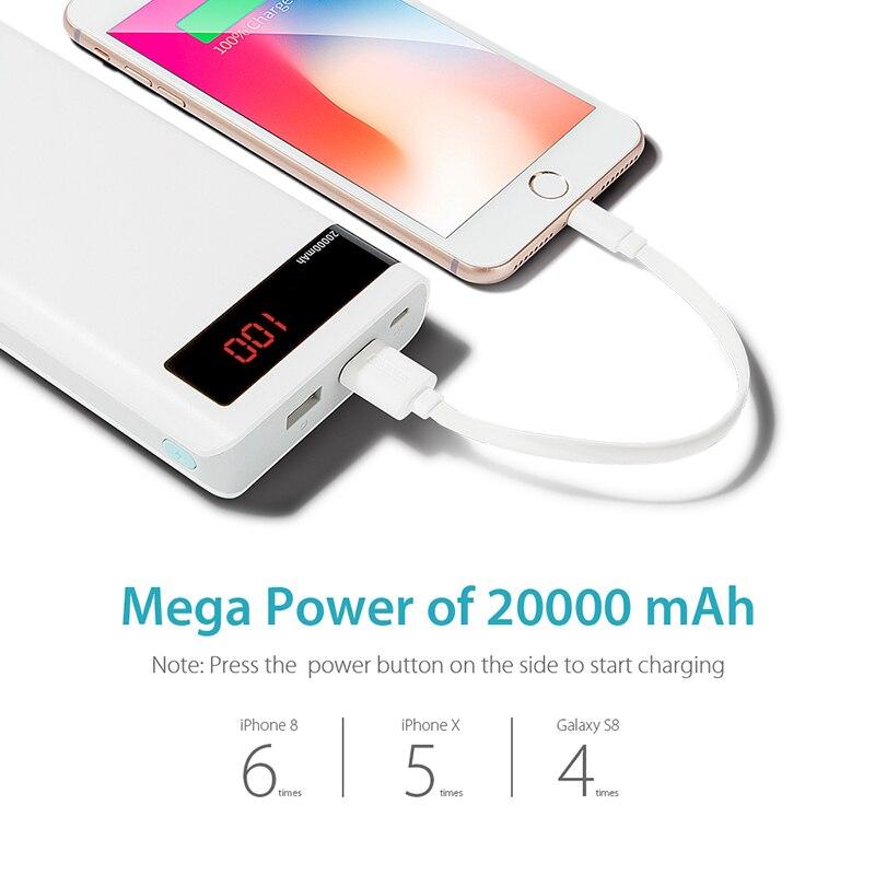 20000 мАч ROMOSS Sense 6P внешний аккумулятор, двойной USB портативный внешний аккумулятор, светодиодный дисплей, быстрое портативное зарядное устройство для телефонов и планшетов