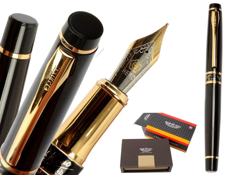 M Nib Fountain pen Black Original HERO 1021 office and school statoinery with gift box Free  Shipping italic nib art fountain pen arabic calligraphy black pen line width 1 1mm to 3 0mm