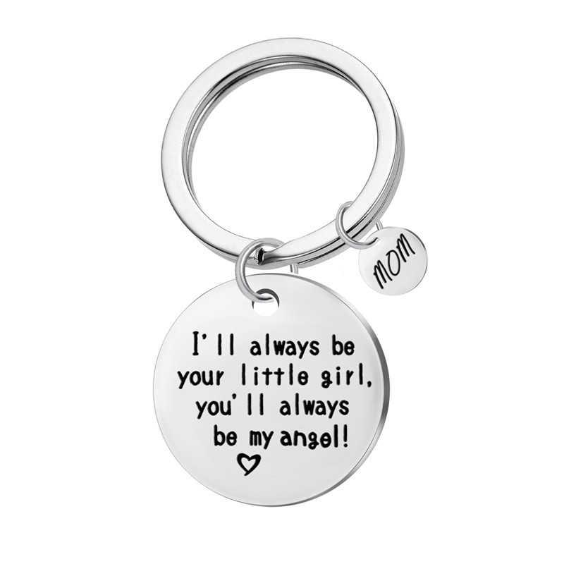 """Мама брелок """"я всегда буду вашей малышки, вы будете мой ангел """"брелок Нержавеющаясталь Шарм мать украшения подарок"""