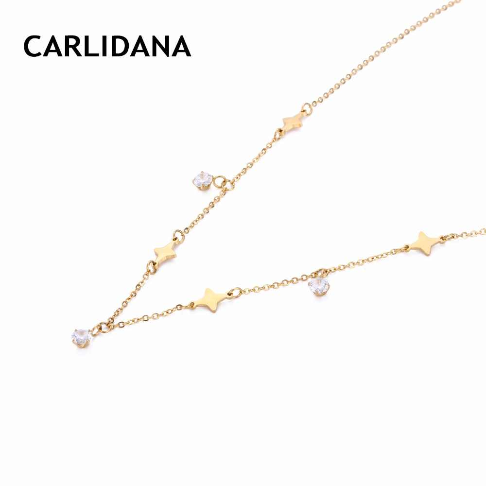 Trendy Women Necklace Simple Design Stainless Steel Statement Necklace With Star Pendants Brand Design For Women CARLIDANA
