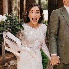 Vestido de novia blanco encaje de color marfil vestidos de novia 2020 gasa sexy con espalda descubierta Bohemia Vestido para boda en la playa Vestido de novia de manga larga