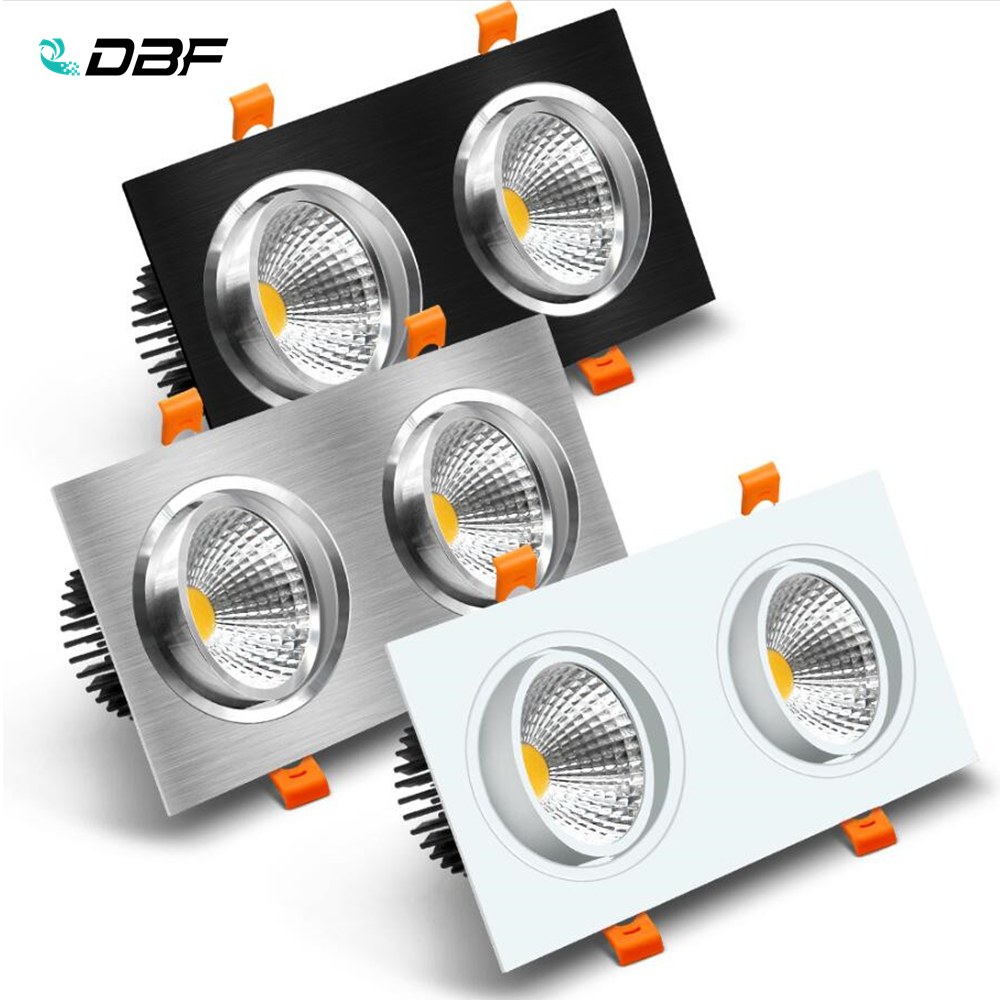 [DBF]Double Head Square <font><b>LED</b></font> <font><b>Downlight</b></font> Dimmable 14W 18W 24W <font><b>30W</b></font> Ceiling Spot Light Bedroom Living room Kitchen Decoration AC220V image