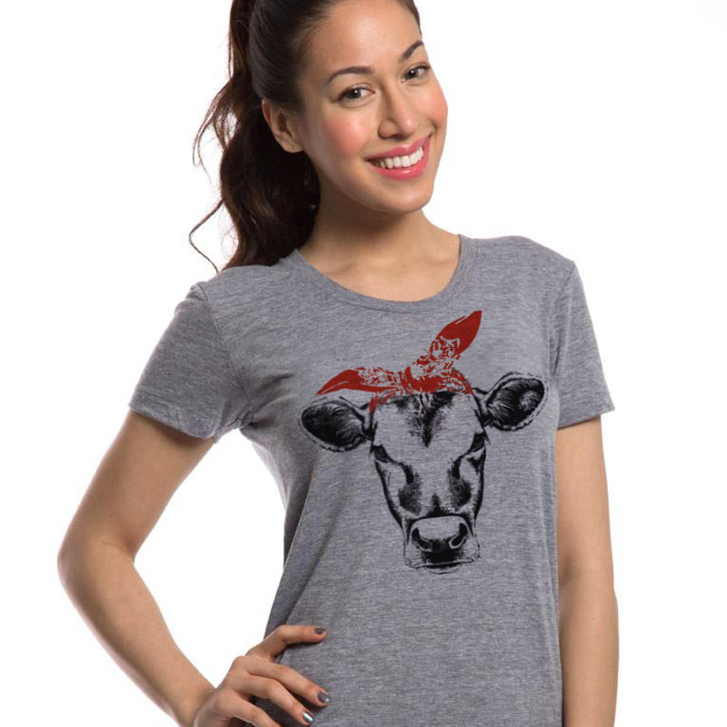 LUSLOS Funny Design Cow Printed T Shirts Summer Women 39 s Tshirt Short Sleeve Graphic Shirt Cowgirl Shirt Southern Tops Tee Tumblr in T Shirts from Women 39 s Clothing