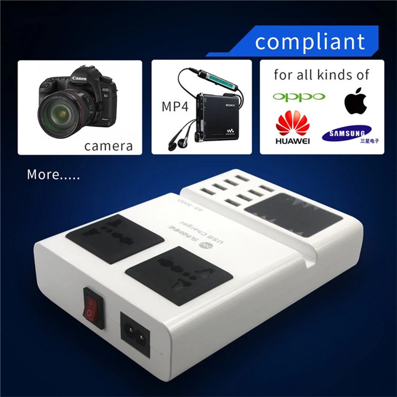 Power Tool Accessories Ss-306d Portable 3 In 1 Intelligent 8 Port Usb Charger Led Digital Display With Socket For Phone Ipad Iphone