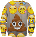 Smiley face 3D Impresso Crewneck Suores Mulheres Moda Roupas Emoji Camisola Hoodied Tops poo Outfits Camisa Streetwear