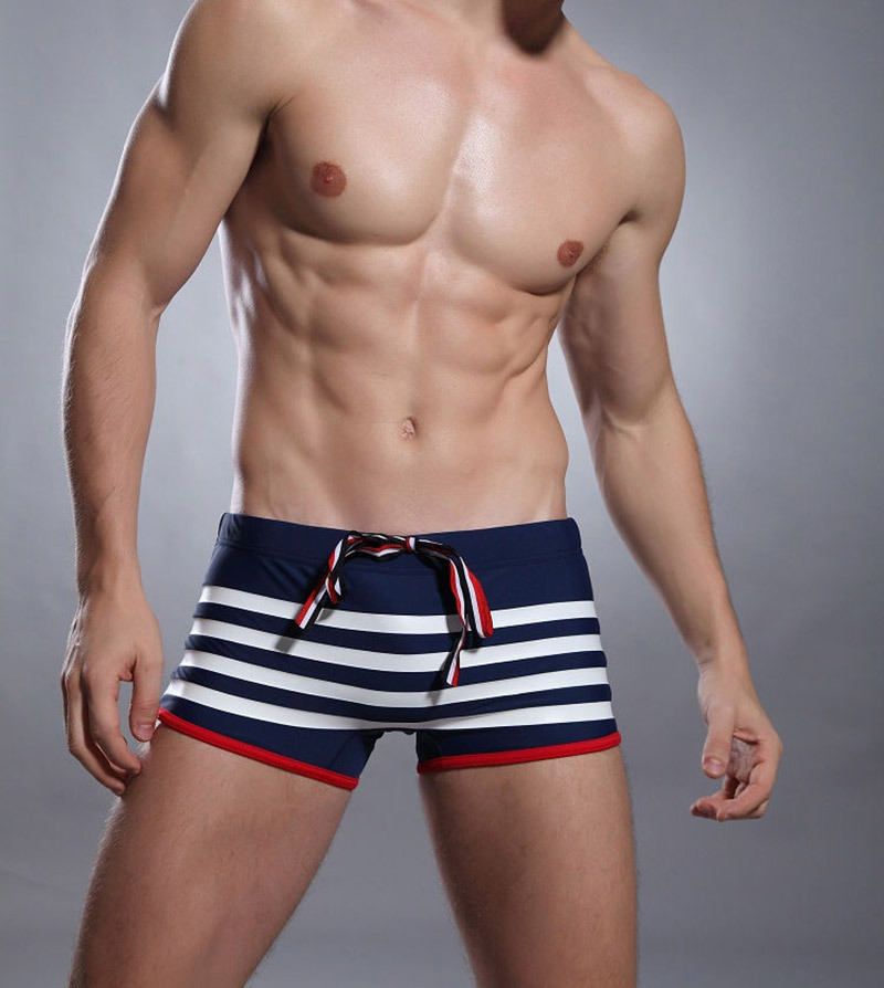 Swimsuits Shorts Boxers-Trunks Swim-Wear Sexy Board Summer Quick-Dry Striped Men's Man