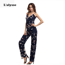 LALYSSE Lady Sexy V-neck Sleeveless Jumpsuit Summer Women Chiffon Spaghetti Strap Print Solid Casual Slim