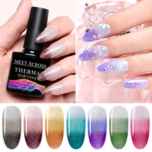 MEET ACROSS 8ml Thermal Color Changing Top Coat Gel Nail Polish Holographic Glitter Temperature Art Varnish