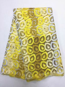 5 Yards/PC Fashionable yellow four color embroidery african water soluble lace and Gippy lace fabric for clother BW128-1