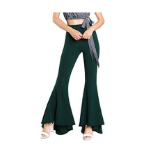 2019 Women Solid Flare Pants Sexy Ruffle Wide Leg Pants Summer Vintage High Waist Pants wide waistband ruffle wide leg pants