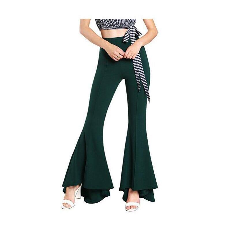 2019 Women Solid Flare   Pants   Sexy Ruffle   Wide     Leg     Pants   Summer Vintage High Waist   Pants