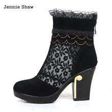 Genuine leather female spring autumn cutout mesh lace ankle boots women short Boot Shoes