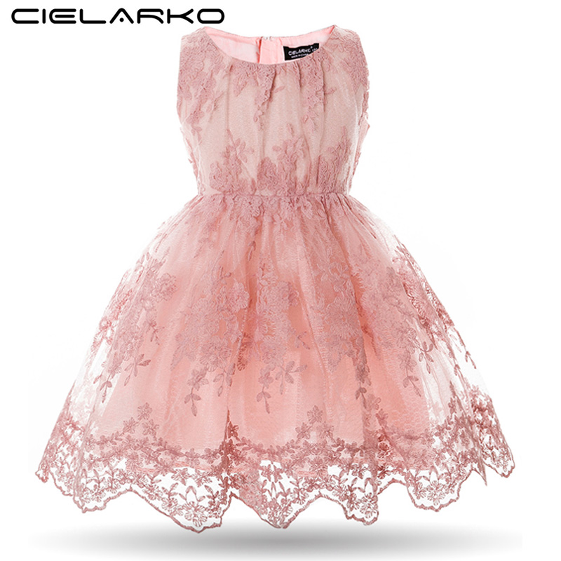 Cielarko Girls Dress Fancy Kids Lace Dresses Flower Mesh Barn Bröllopsklänningar Formell Prom Vestidos Baby Frocks for Girl