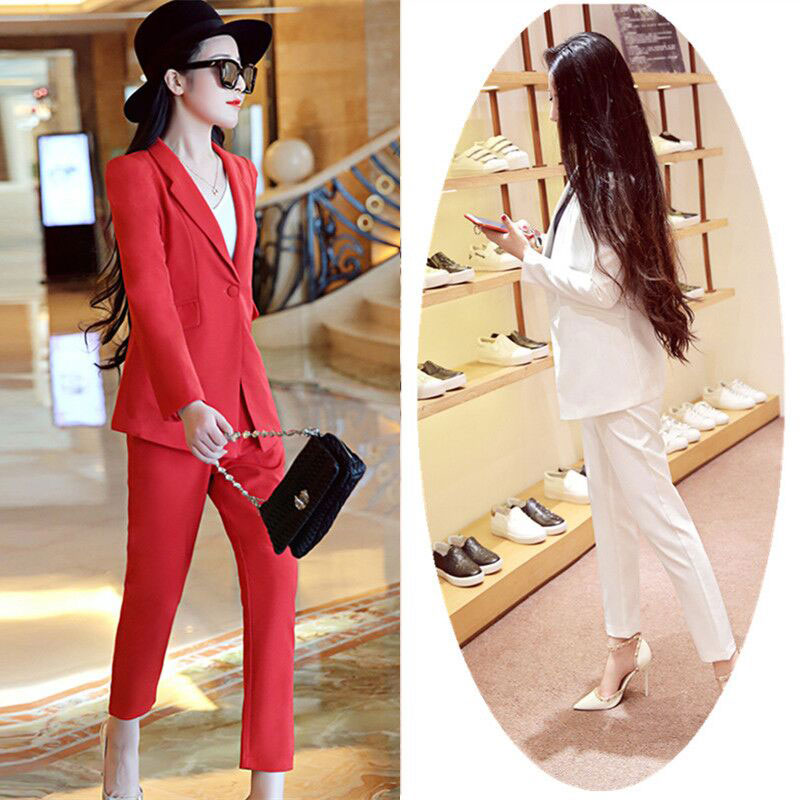 Plus Size Spring And Summer Small Suit Suit Female Temperament OL Nine Pants Ladies Fashion New Two-piece Ladies Suit