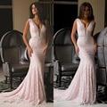Vestido de noche Largo de La Sirena Vestido de Noche de Encaje con Cuentas Sash Crystal Mujeres Formal Vestido de Fiesta Robe De Soirée