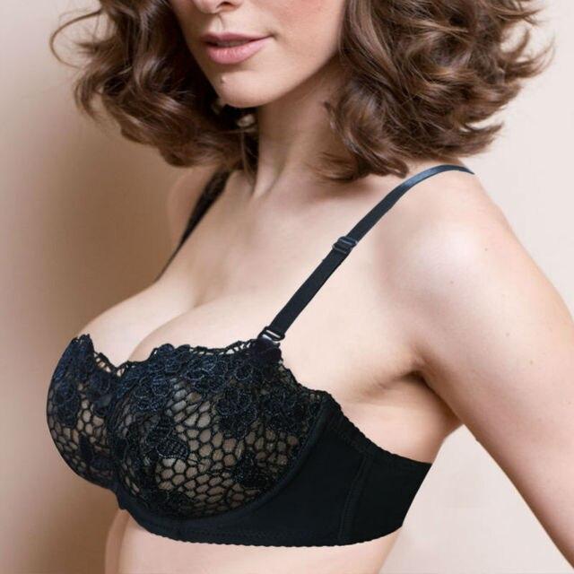 5121349a73165 Vogue Secret Lace Triangle Bralette Unlined Bra Floral Wireless Brassiere  Sexy Intimates 1 2 Big Cup Crop Top Underwear Women