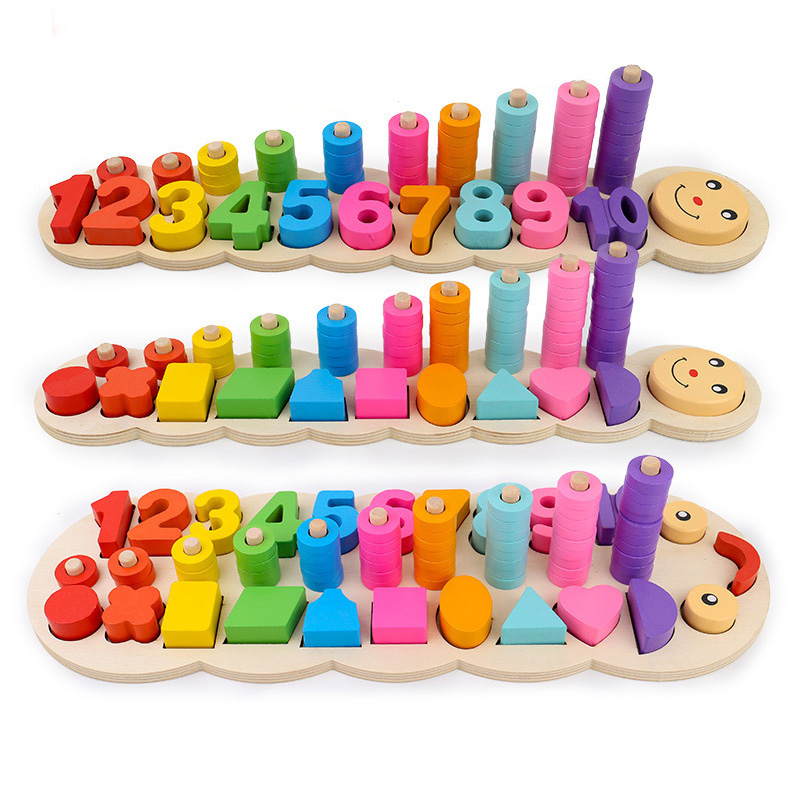 Montessori Toys Educational Wooden Toys for Children Early Learning Geometric Shape Cognition Math Matching Teaching Aids