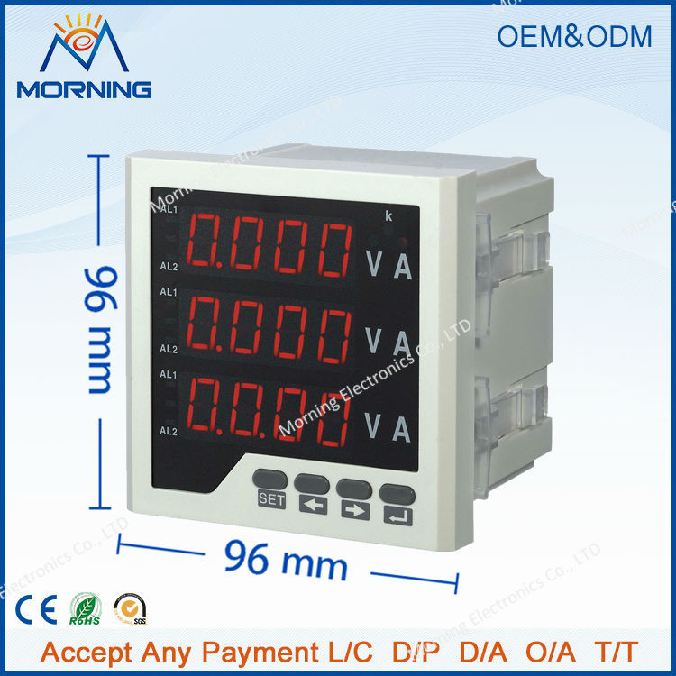 3UIF33-o panel size 96*96 3 phase led ac volt ampere and frequency digital combined meter with alarm 3uif23 frame size 120 120mm 3 phase ac led digital combined meter for distribution box