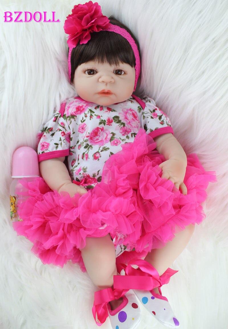 BZDOLL 55 سنتيمتر كامل سيليكون الجسم تولد من جديد الطفل دمية لعبة واقعية الوليد الأميرة الفتيات الرضع دمية طفل Brinquedos يستحم لعبة-في الدمى من الألعاب والهوايات على  مجموعة 1