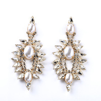 Newest Delightful Earrings Exquisite Shiny Pearl Crystal Bohemia Style Stud Gold Plated Long For Women Luxurious