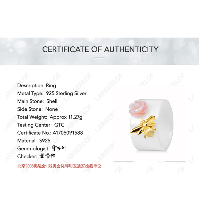 LARGERLOF  Ring Silver 925 Women Bee Ring Ceramic Silver 925 Jewelry Rings Female  RG35058