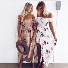 Boho style long dress women Off shouCUERLYer beach summer dresses Floral print Vintage chiffon white maxi CUERLY de festa