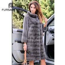 FURSARCAR Women Fashion Real Mink Fur Coat Winter 2018 New Arrival Female Jacket With Fur Collar Whole Skin Mink Fur Outwear нож поварской shippu 210 мм сталь vg 10 tojiro