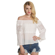 2017 Autumn New Arrivals Women Long Flare Sleeve Slash Neck Casual Solid Shirt Female Fashion Lace Spliced Sexy Cotton Blouses