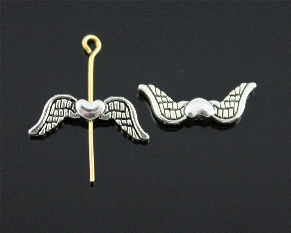 20 Stücke Engel Flügel Herz Charme Flügel Europäischen Kleine Loch Spacer Perlen Herz Flügel Kleine Loch Perlen 7x20mm Strukturelle Behinderungen Perlen