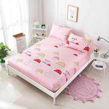 New 1pc Polyester+Cotton Sheet Mattress Cover Colorful Bedding Linens Bed Sheets with Elastic Band Protection 18 Color
