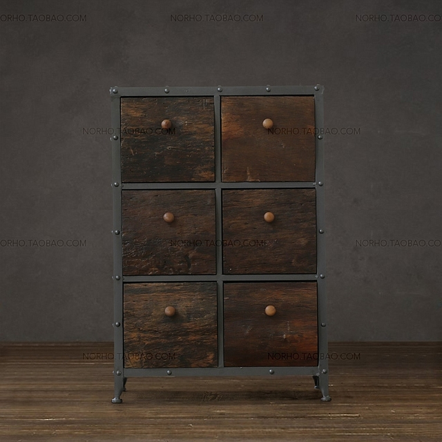 Wrought Iron Vintage American Country Cupboard Drawer Cabinet Creative  Industries 6 Bucket Wood Drawer Storage Cabinets