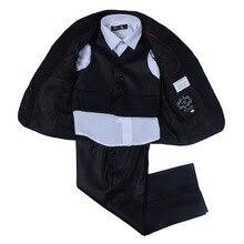Новая Мода Свет, Сияющий Черный Насыщенный Первичная Мальчики Школьная форма Мальчиков Костюмы Установить для Свадьбы 2 Т-7 Т