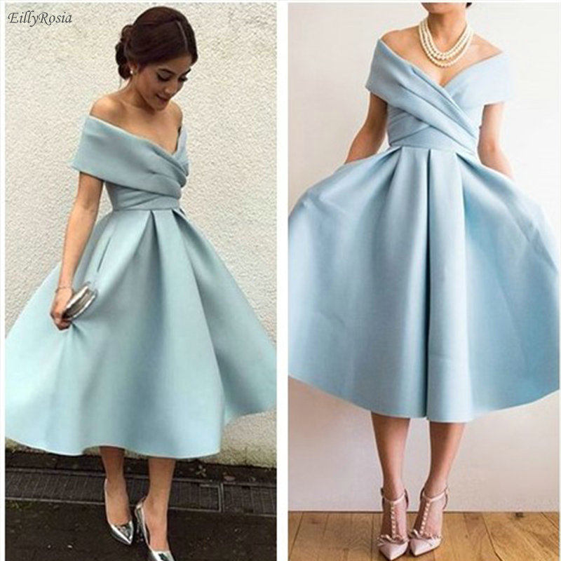 Light Blue Tea Length   Prom     Dress   2019 Satin A-Line Ruched Pleated Off the Shoulder Vintage Women's Evening Gowns rochii de seara