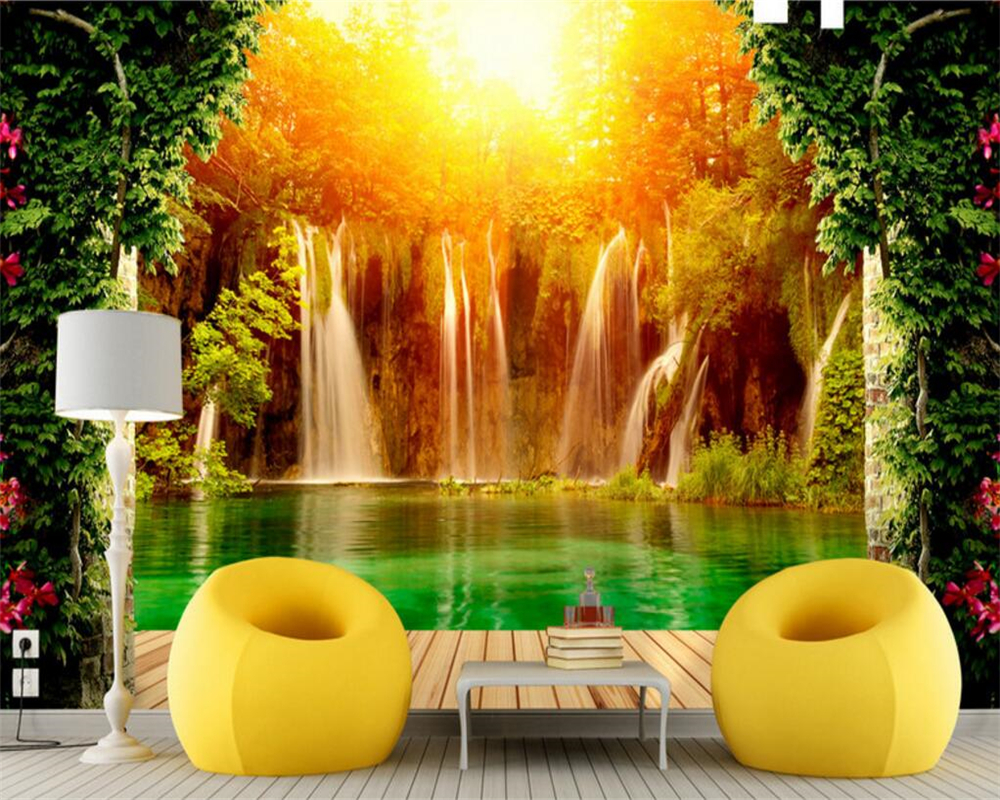 popular tiger wall murals buy cheap tiger wall murals lots from beibehang photo wallpaper for walls 3 d nature scenery lake water mountain tiger falls 3d wall