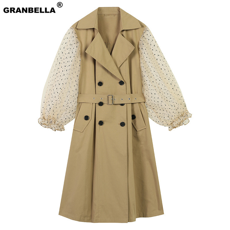 2019 Fashion Spring Autumn Patchwork Polka Dot Lantern Sleeve   Trench   Coat Female High Waist Lace Up Women's Windbreaker Overcoat