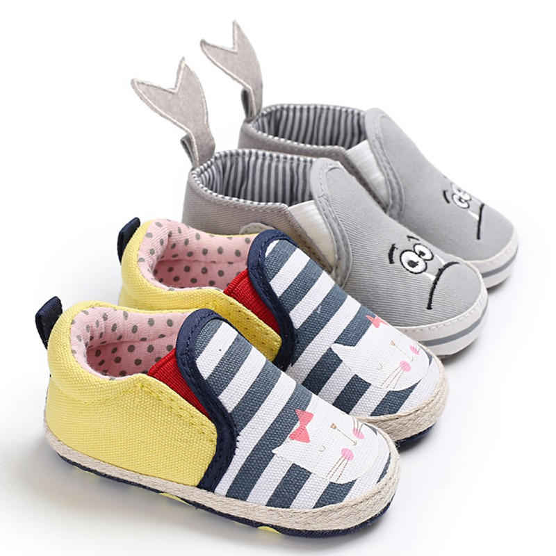 Newborn Baby Shoes Girls First Walkers Cute Bow Non-slip Soft Bottom Toddler Shoes Cute Cartoon Animal Kid Prewalkers Shoes