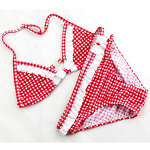2016 2 Pieces Set Swimsuit Girls Bikini Kids New Models Swimwear Quick Drying Grid Polyester Bikini Top & Briefs Bottom