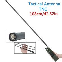 Abbree tnc conector vhf uhf dupla banda dobrável antena tática para kenwood harris an/PRC 152 148 walkie talkie rádio