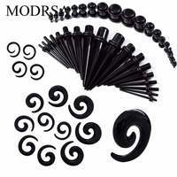 MODRSA 54pcs/lot Acrylic Ear Taper kit 14G-00G Spiral Ear Stretching Set With Plugs Tunnels Earring Expander Piercing Gauges