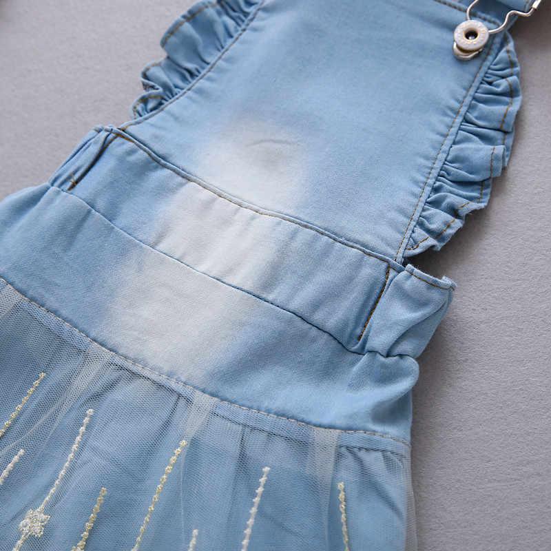 12M-4 سنوات طفل فستان الشمس 2017 طفلة اللباس الصيف فساتين من الجينز للفتيات وزرة الاطفال الجينز بيبي الرضع الملابس DQ413