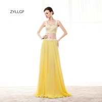 ZYLLGF Sexy Prom Dresses Two Piece Long Chiffon Prom Party Gown Special Occasion Dresses With Appliques