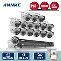 ANNKE 1080P POE 16CH 5MP NVR 16pcs Outdoor 2MP Security IP Camera System WDR DNR