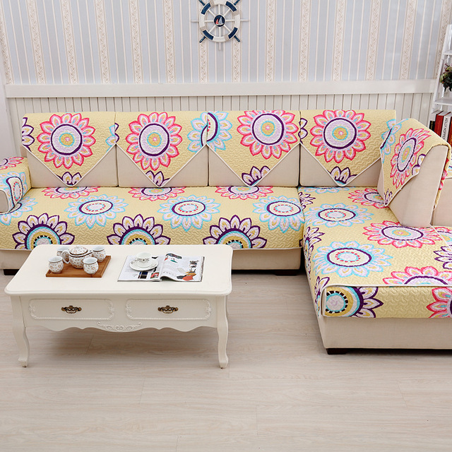 Colorful Cotton Dot Sleep Sofa Slip Covers Settee Sectional Couch