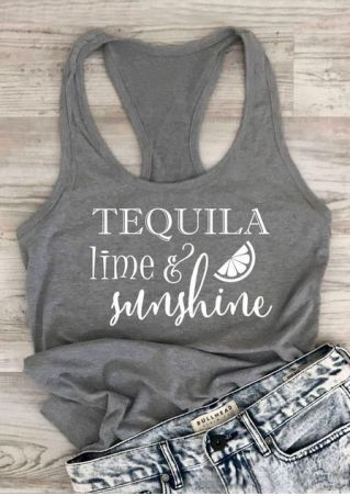 2018 New Arrival Solid Top Tees Shirts Tequila Lime & Sunshine Tank Polyester Letter Printed Summer Casual Tank Tops
