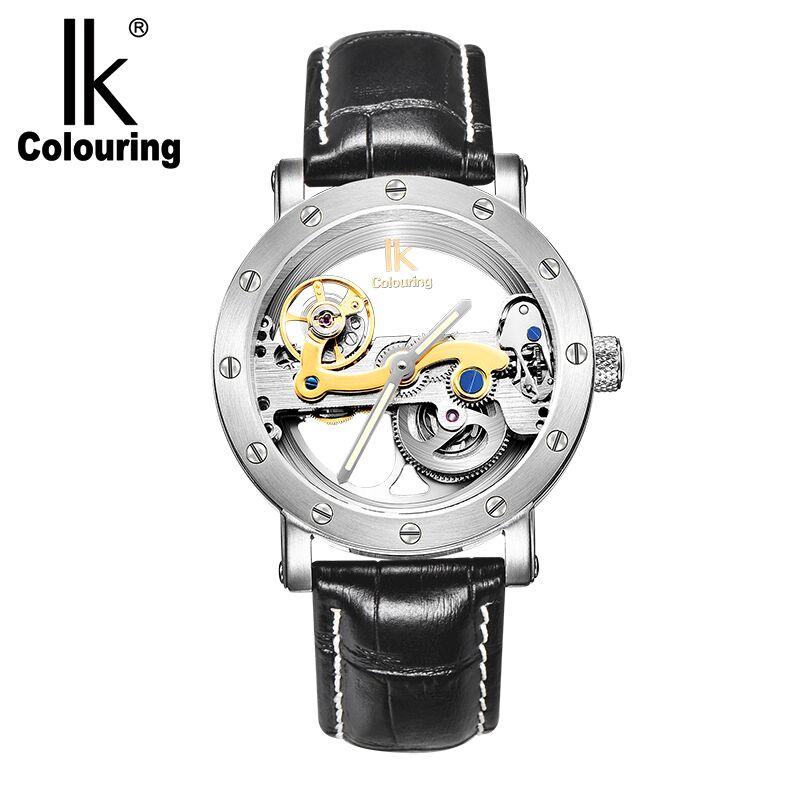 IK coloring Bridge Analog Display Mechanical Male Clock Automatic Wristwatch Golden Bezel Skeleton Watches relogio masculino