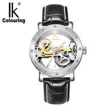 IK coloriage pont affichage analogique horloge mécanique mâle montre bracelet automatique lunette dorée squelette montres relogio masculino